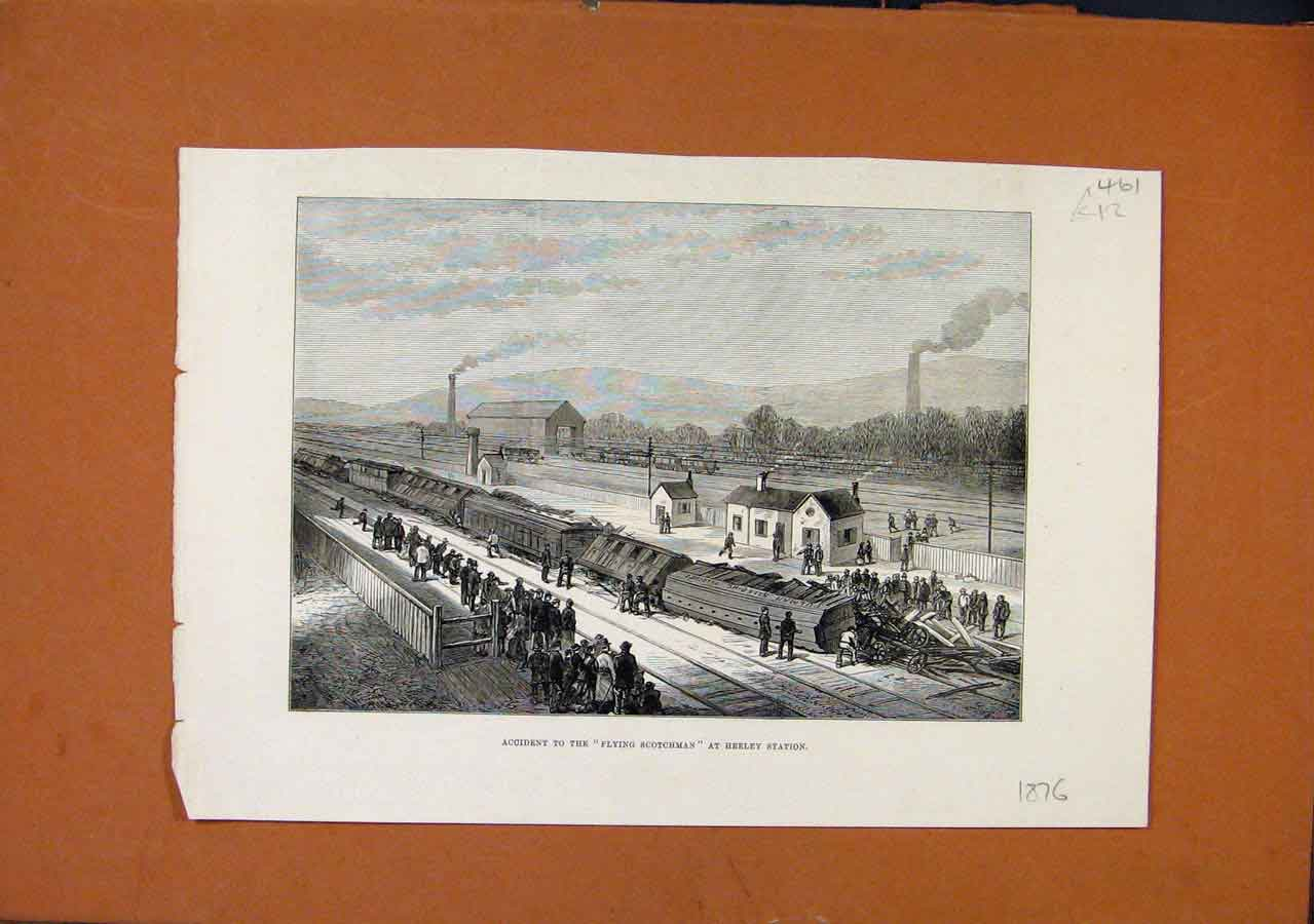 Print C1876 Accident Flying Scotchman Heeley Station 618270 Old Original
