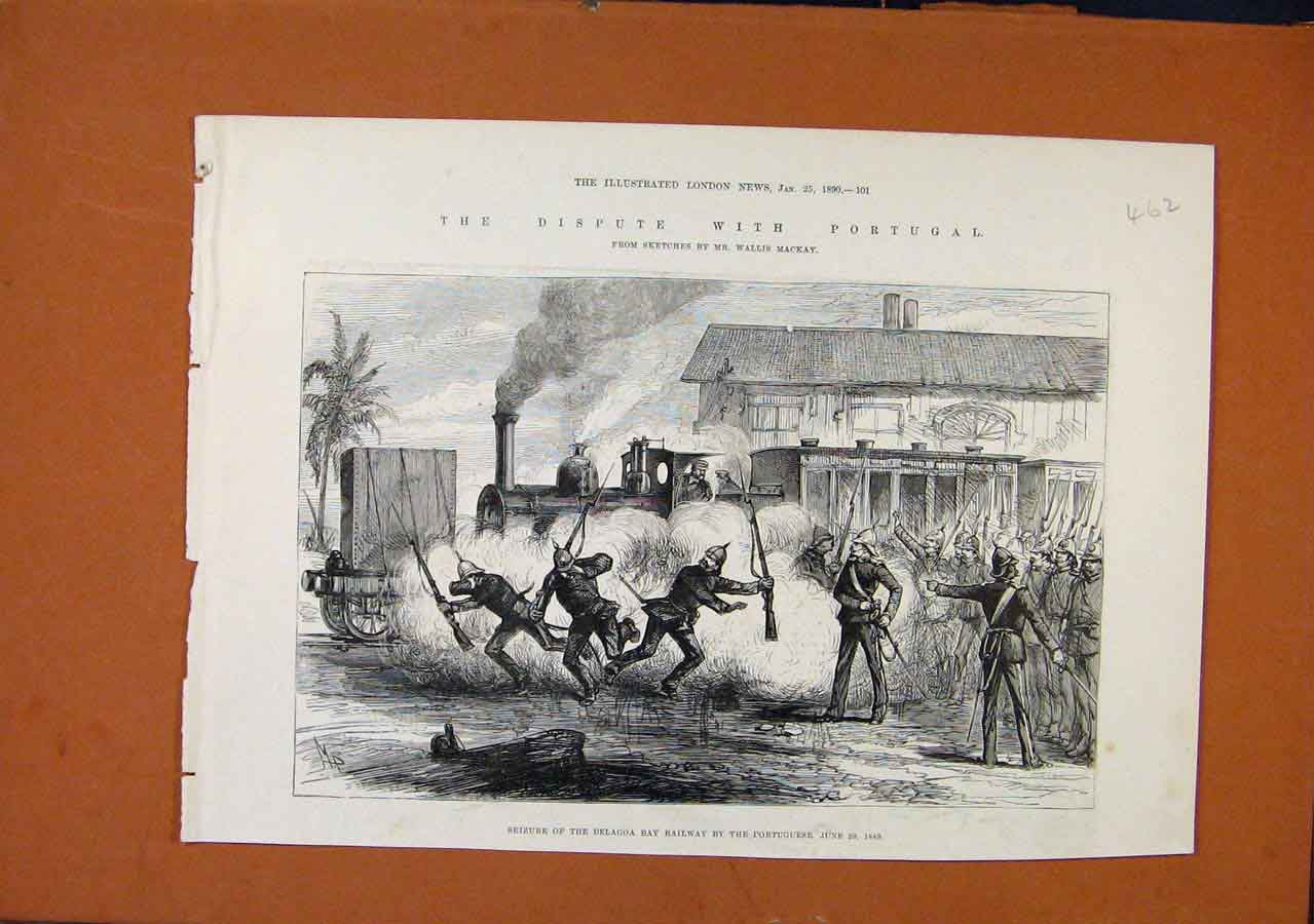 Print Dispute With Portugal C1890 Illustrated London News 628270 Old Original