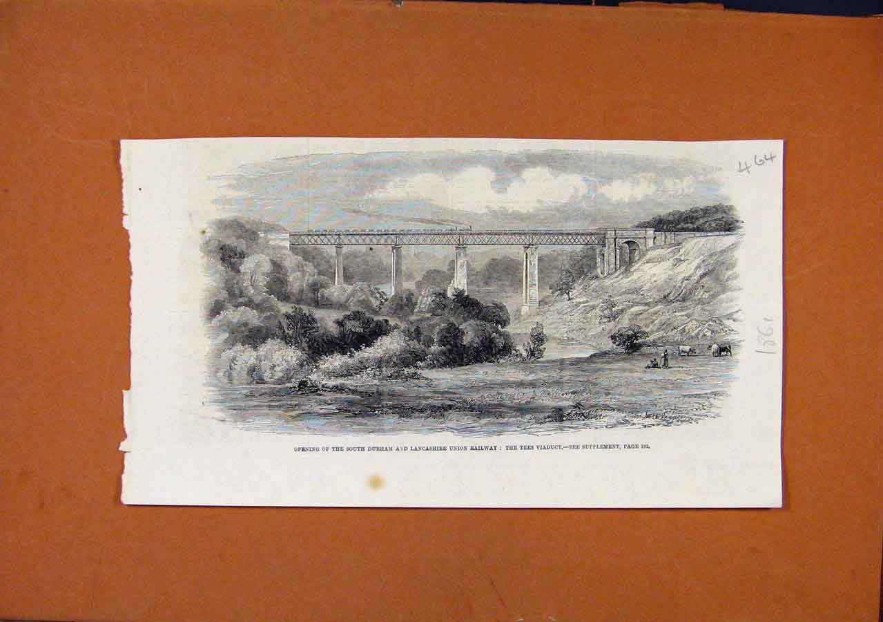 Print South Drham Lancashire Union Railway C1861 648270 Old Original