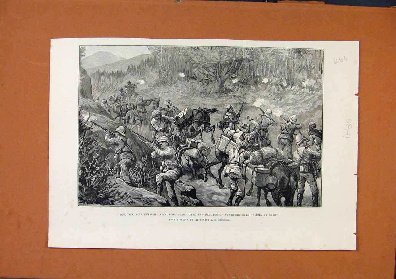 Print Troops Burham Namlu C1888 Illustrated London News 668270 Old Original