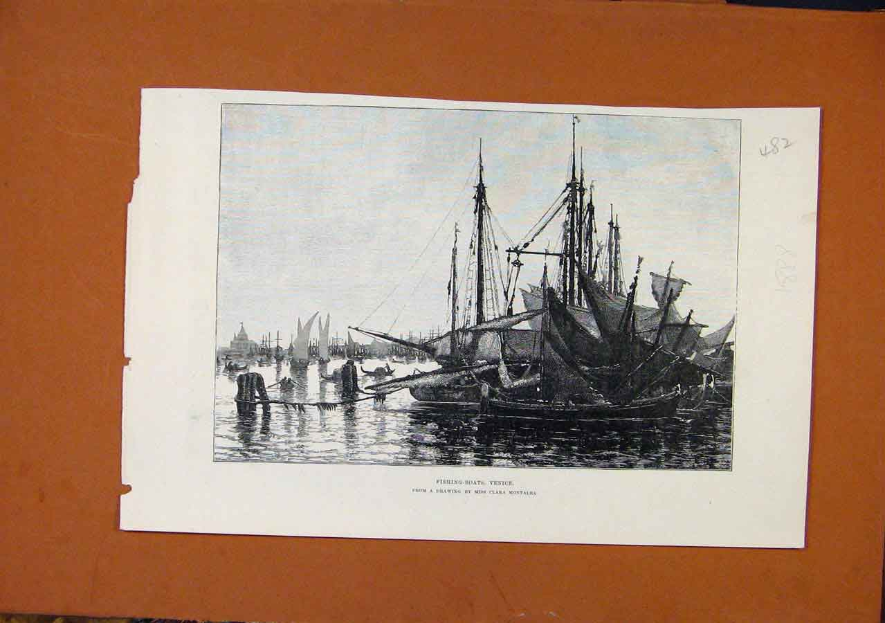 Print Fishing Boats Venice C1888 Illustrated London News 828270 Old Original