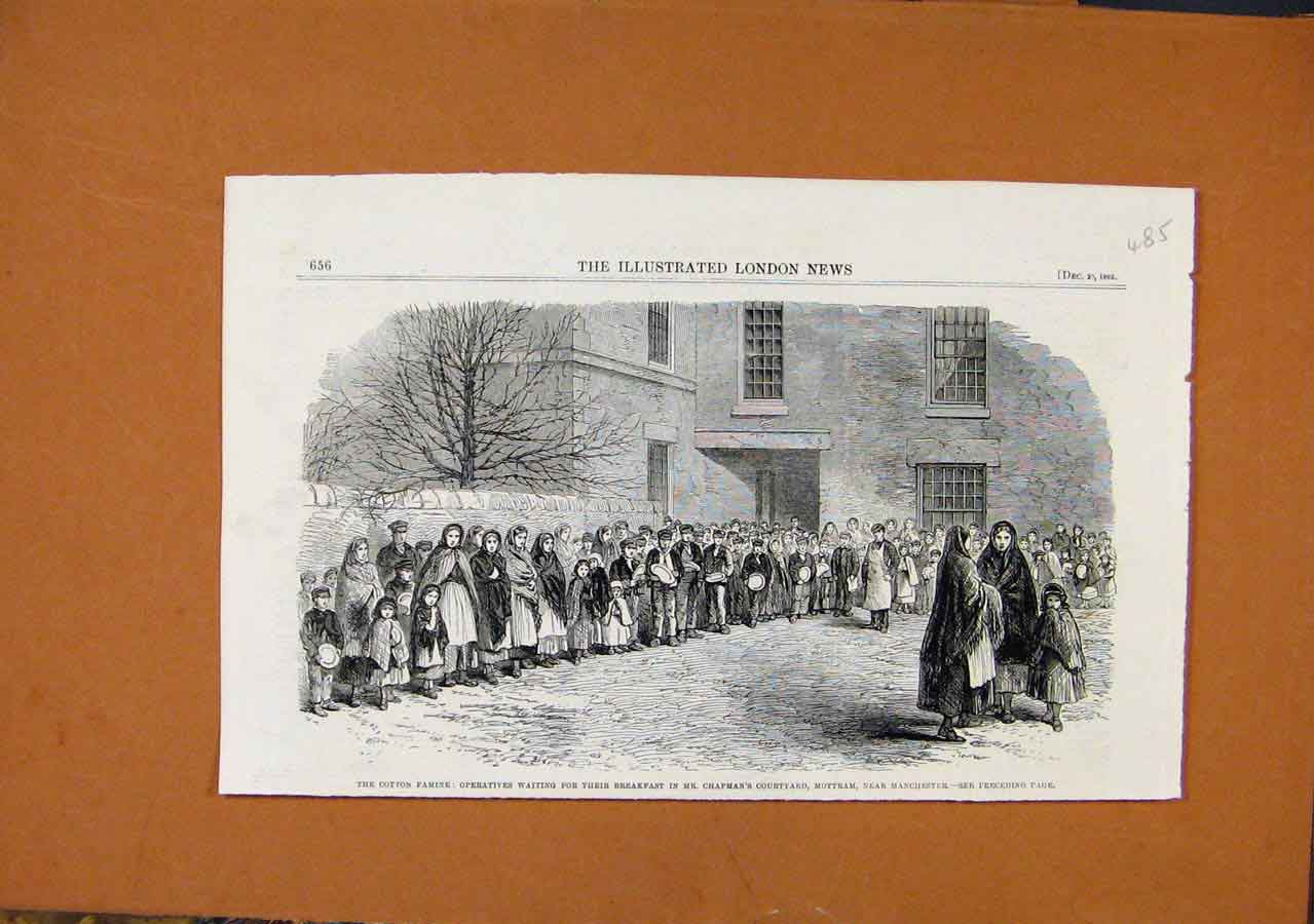 Print Cotton Famine Chapmans Courtyard Manchester C1862 858270 Old Original