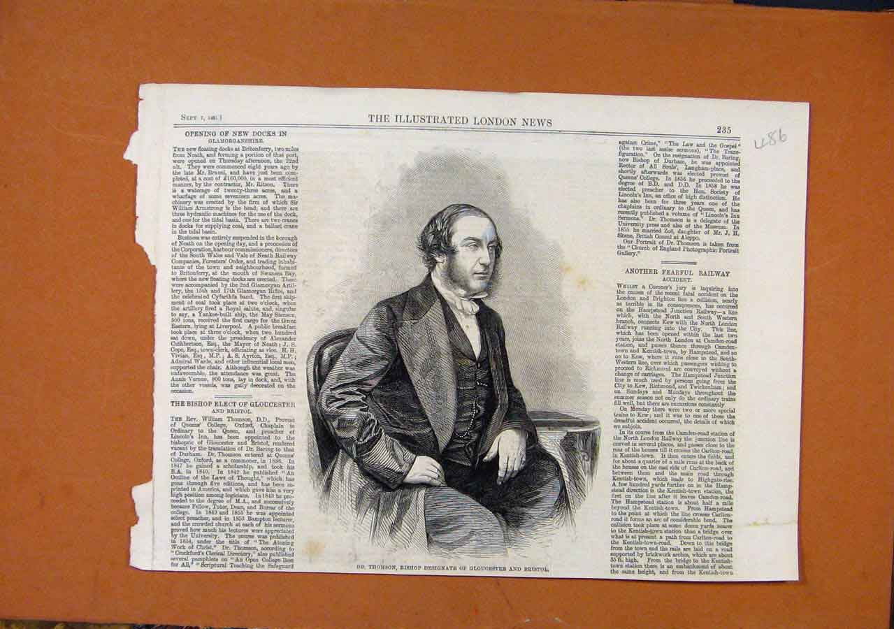 Print Dr Thomson Bishop Gloucester Bristol C1881 868270 Old Original