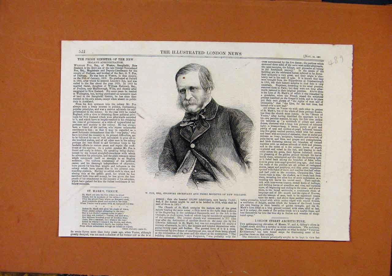 Print Prime Minster New Zealander C1861 898270 Old Original