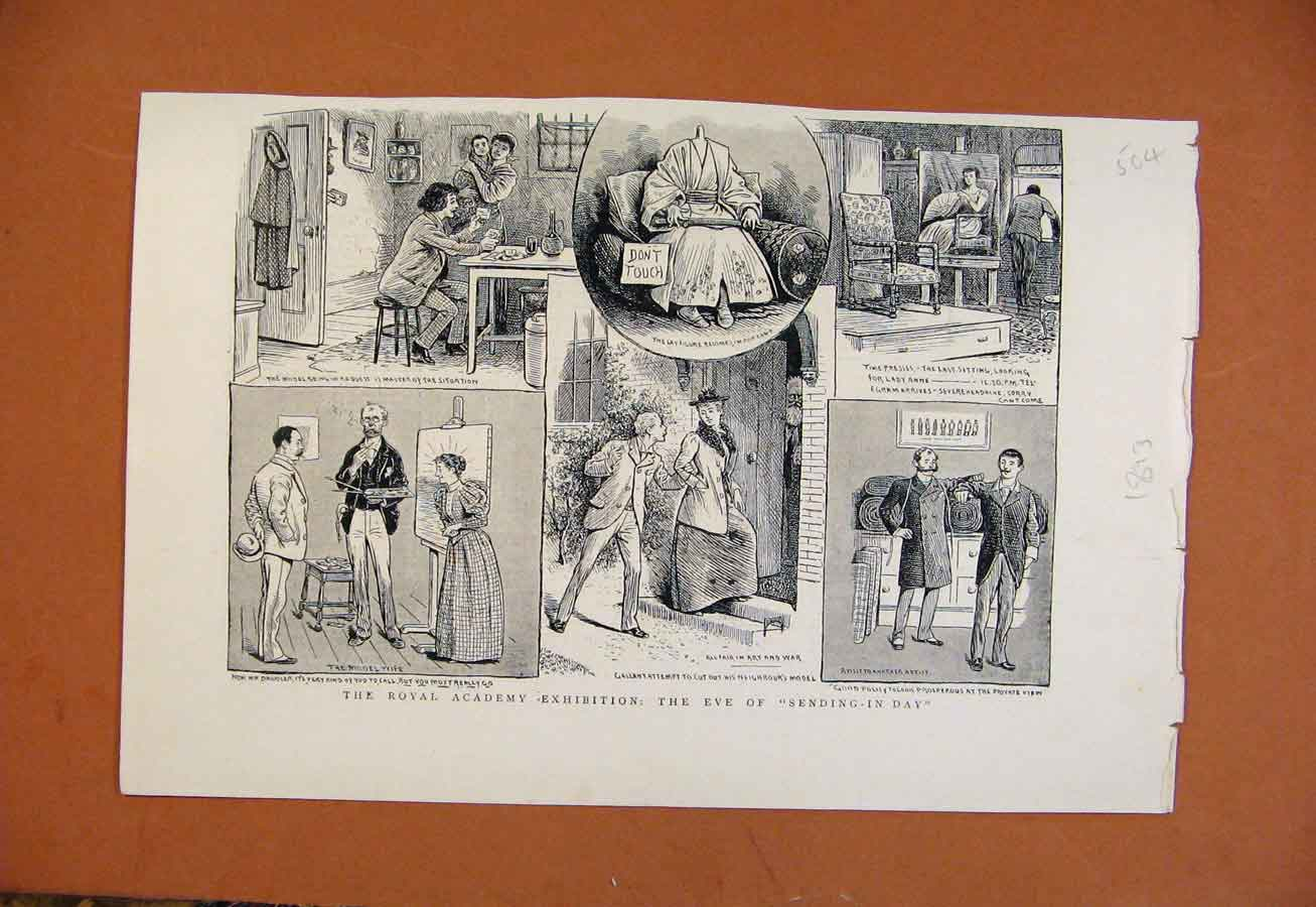 Print C1893 Royal Academy Exhibition From London News 048270 Old Original