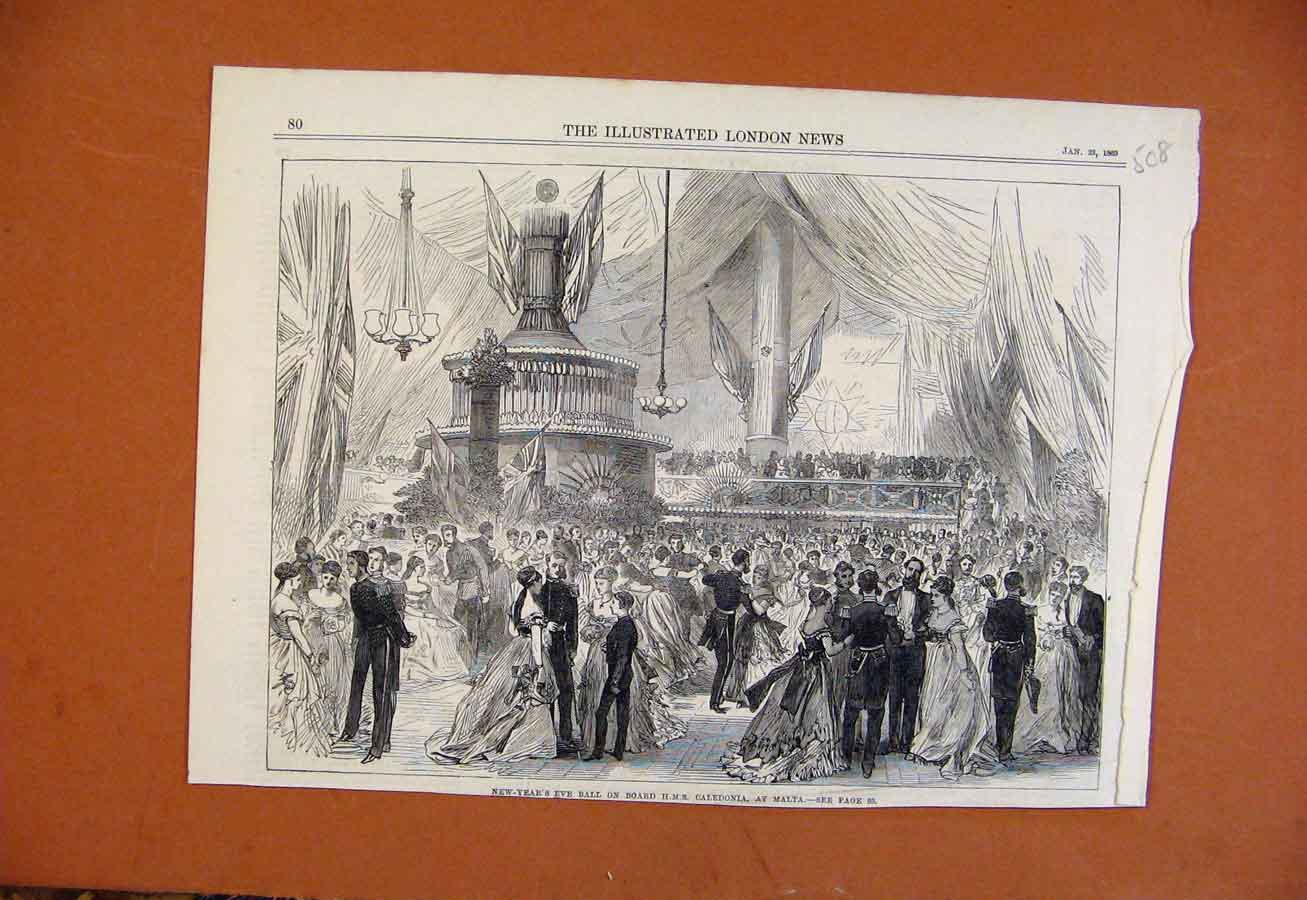 Print New Years Eve Ball Board Hms Caledonia Malta C1869 088270 Old Original