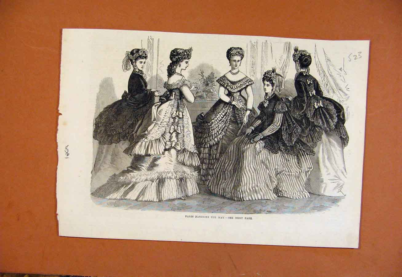 Print Paris Fashion For May C1869 From London News 238270 Old Original