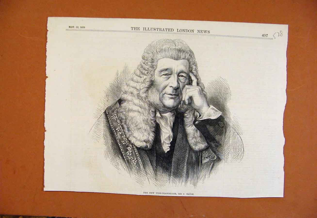 Print C1870 New Vice Hancellor Sir Bacon From London News 288270 Old Original
