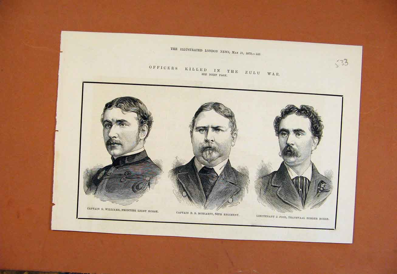 [Print Ficers Killed In Zilu War Williams Moriarty Pool 1879 338270 Old Original]