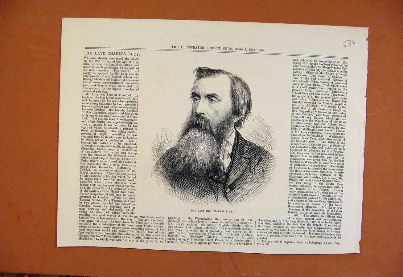 Print Late Mr Charles Lucy C1873 From London News 368270 Old Original
