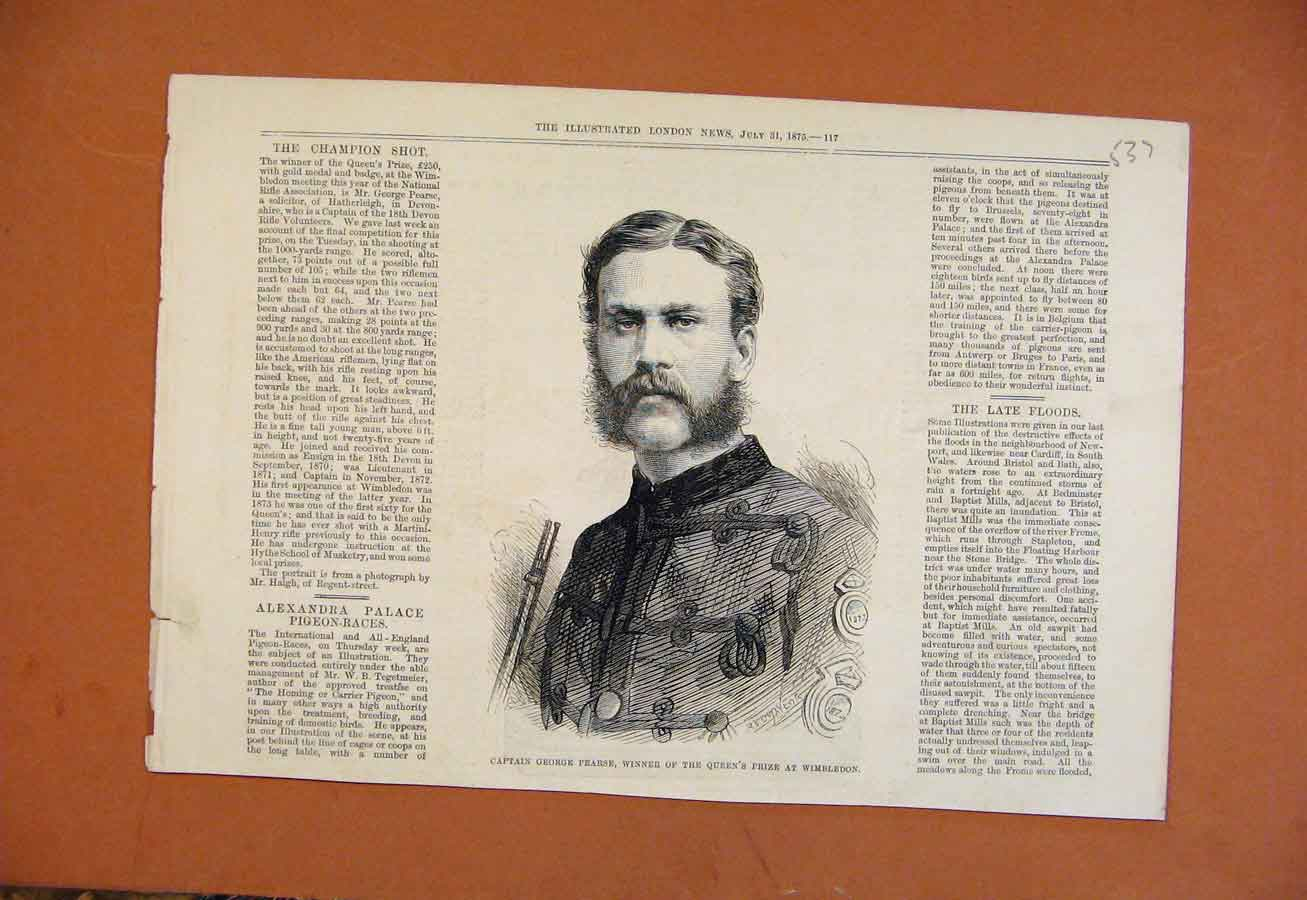 Print Captin George Pearse Queens Prize Wimbledon C1875 378270 Old Original