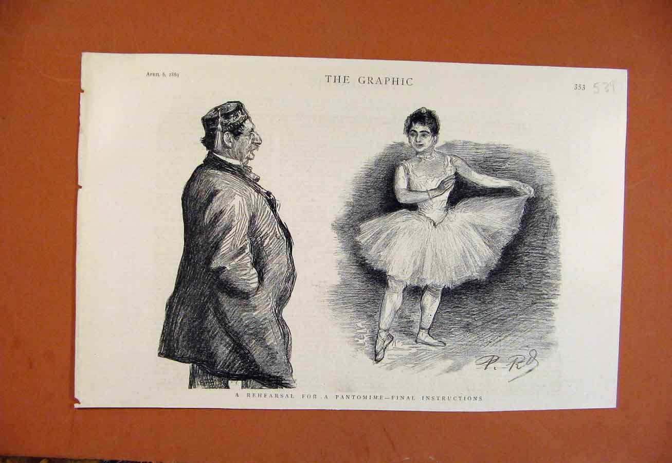 Print Rehearsal Pantomime C1889 From London News 398270 Old Original