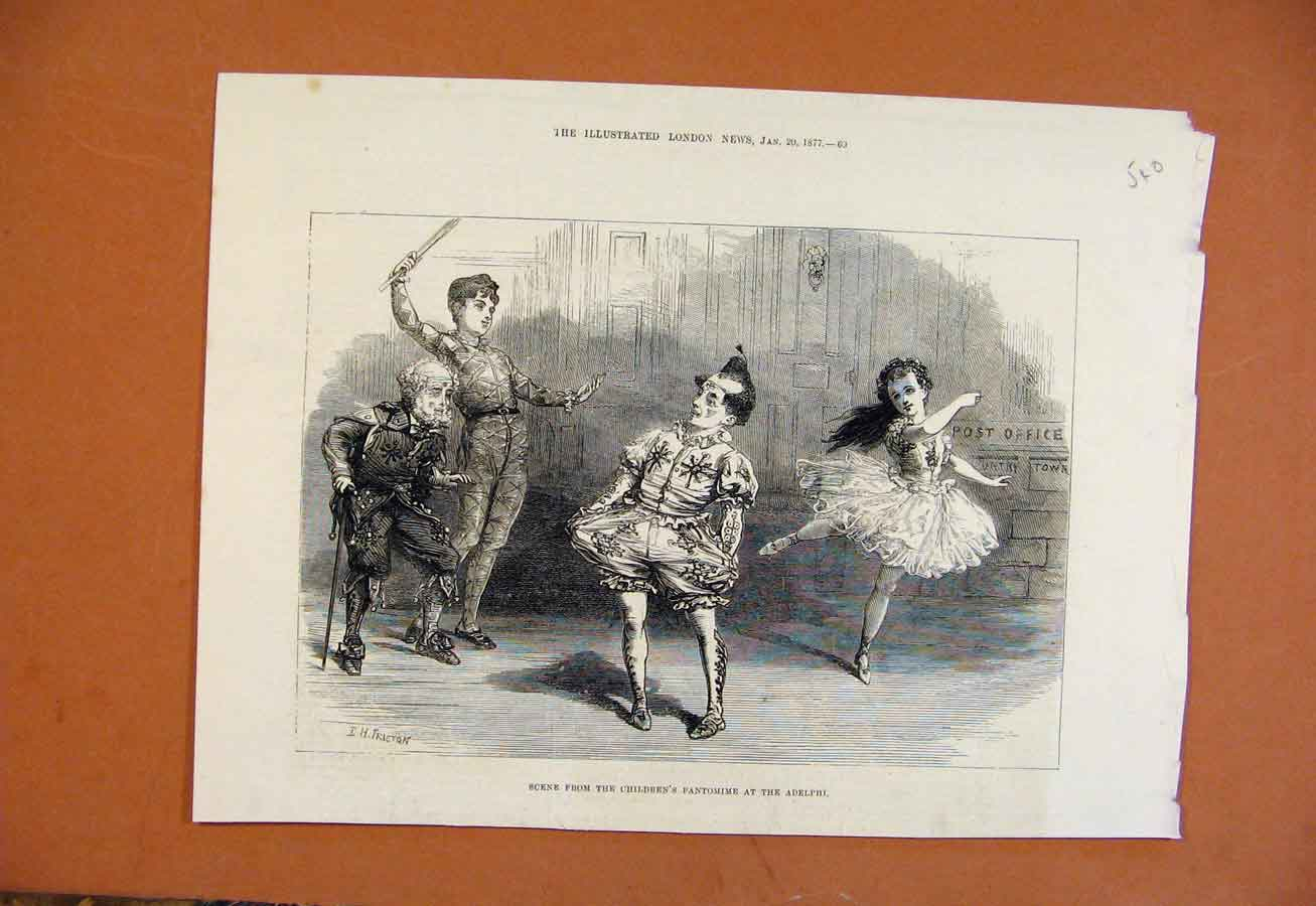 Print Scene From Childrens Pantomime Adelphi C1877 408270 Old Original