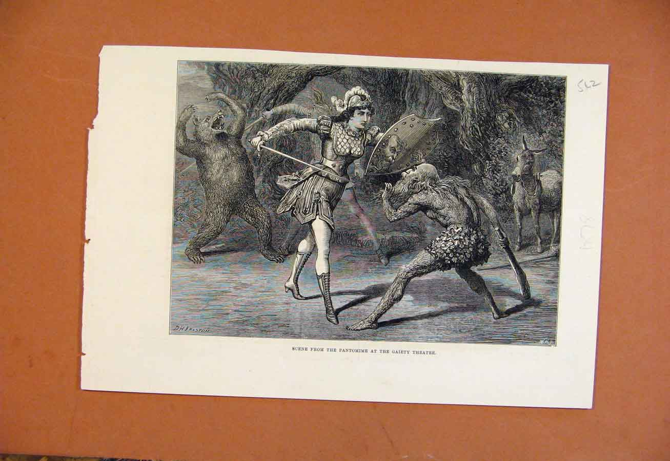 Print Scene From Pantomime Gaiety Theatre C1878 428270 Old Original