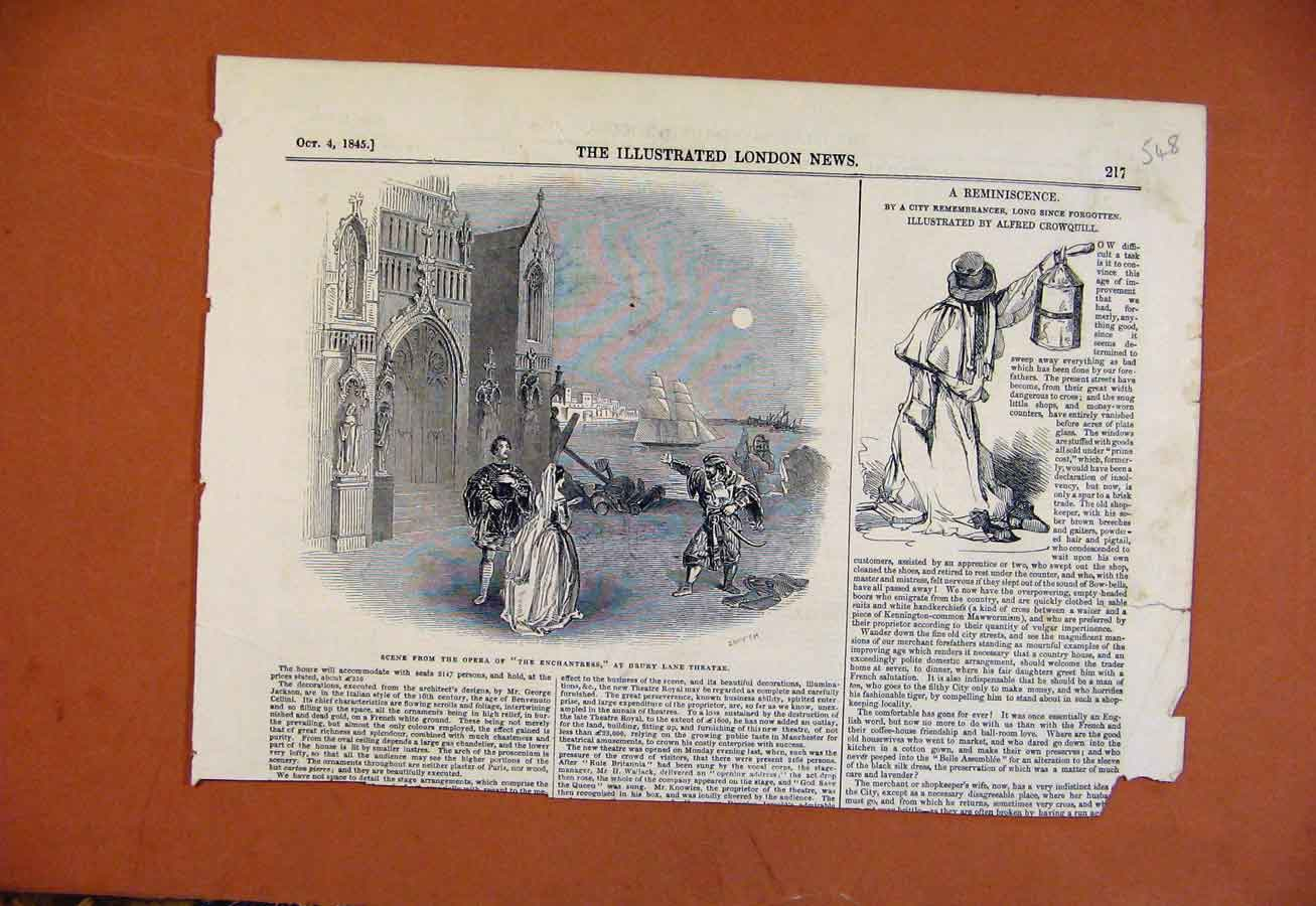 Print C1845 Scene From Opera Enchantress Drury Land Theatre 488270 Old Original