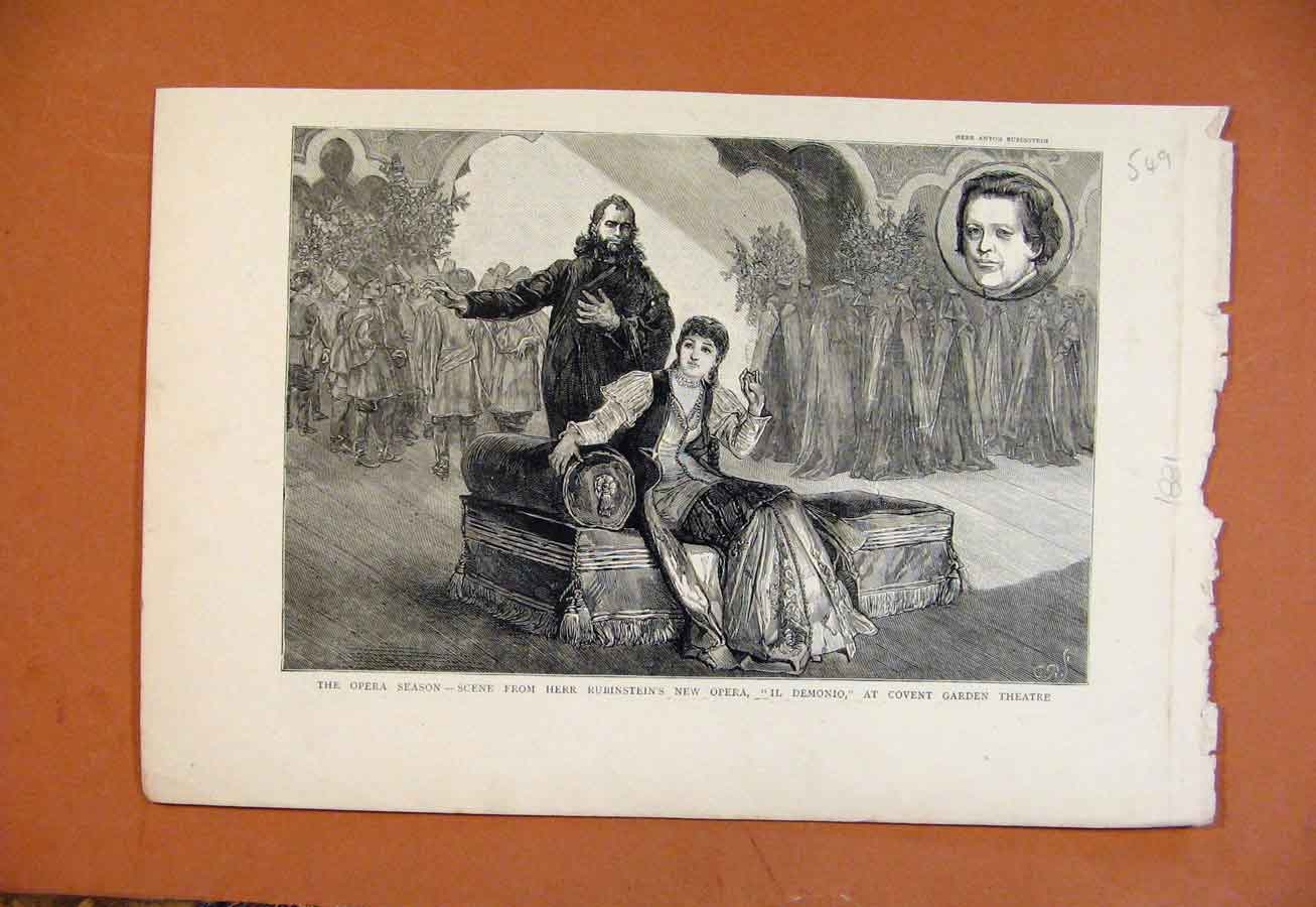 Print Opera Herr Rubinsteins Covent Garden Theatre C1831 498270 Old Original