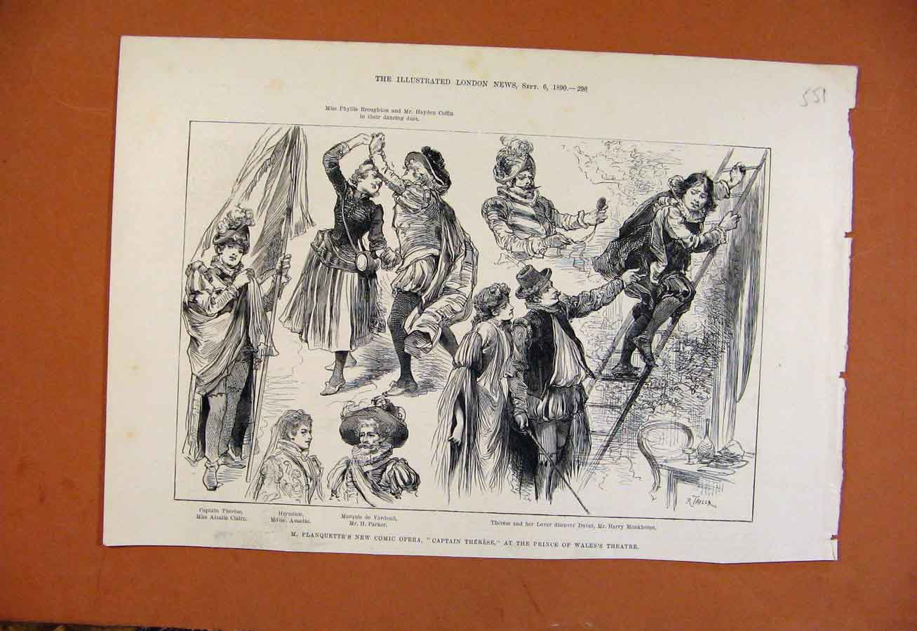 Print New Comic Opera Captain Therese Prince Wales Theatre 518270 Old Original
