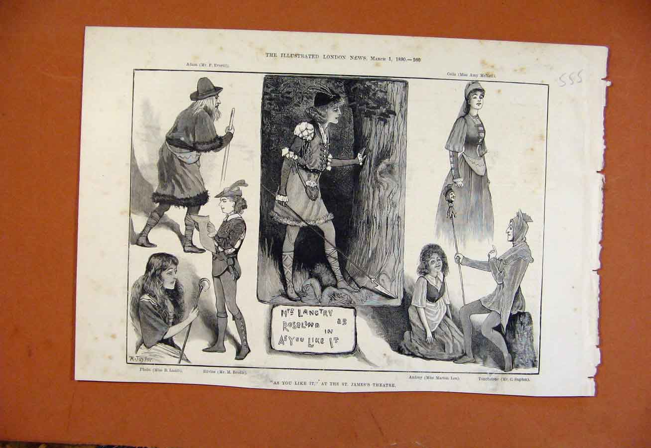 Print As You Like It At St James Theatre C1890 558270 Old Original