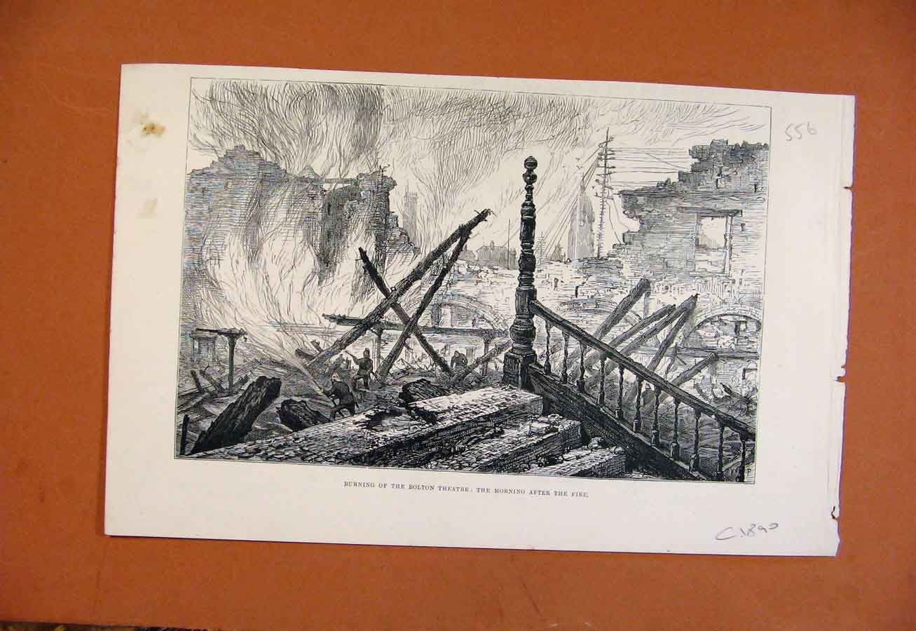 Print Burning Bolton Theatre Morning After Fire C1890 568270 Old Original