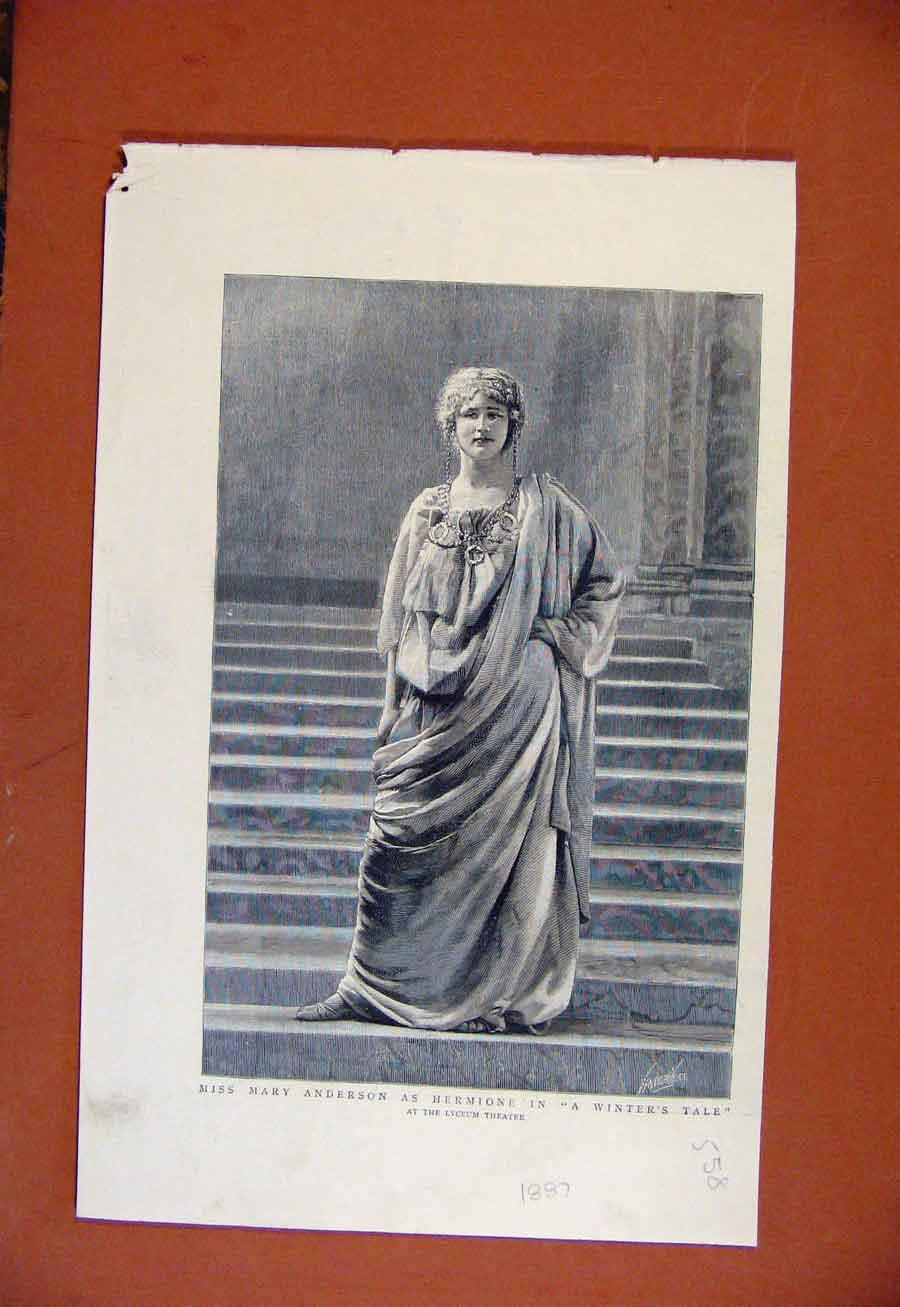 Print Miss Mary Anderson Hermione Winters Tale Lyceum C1887 588270 Old Original