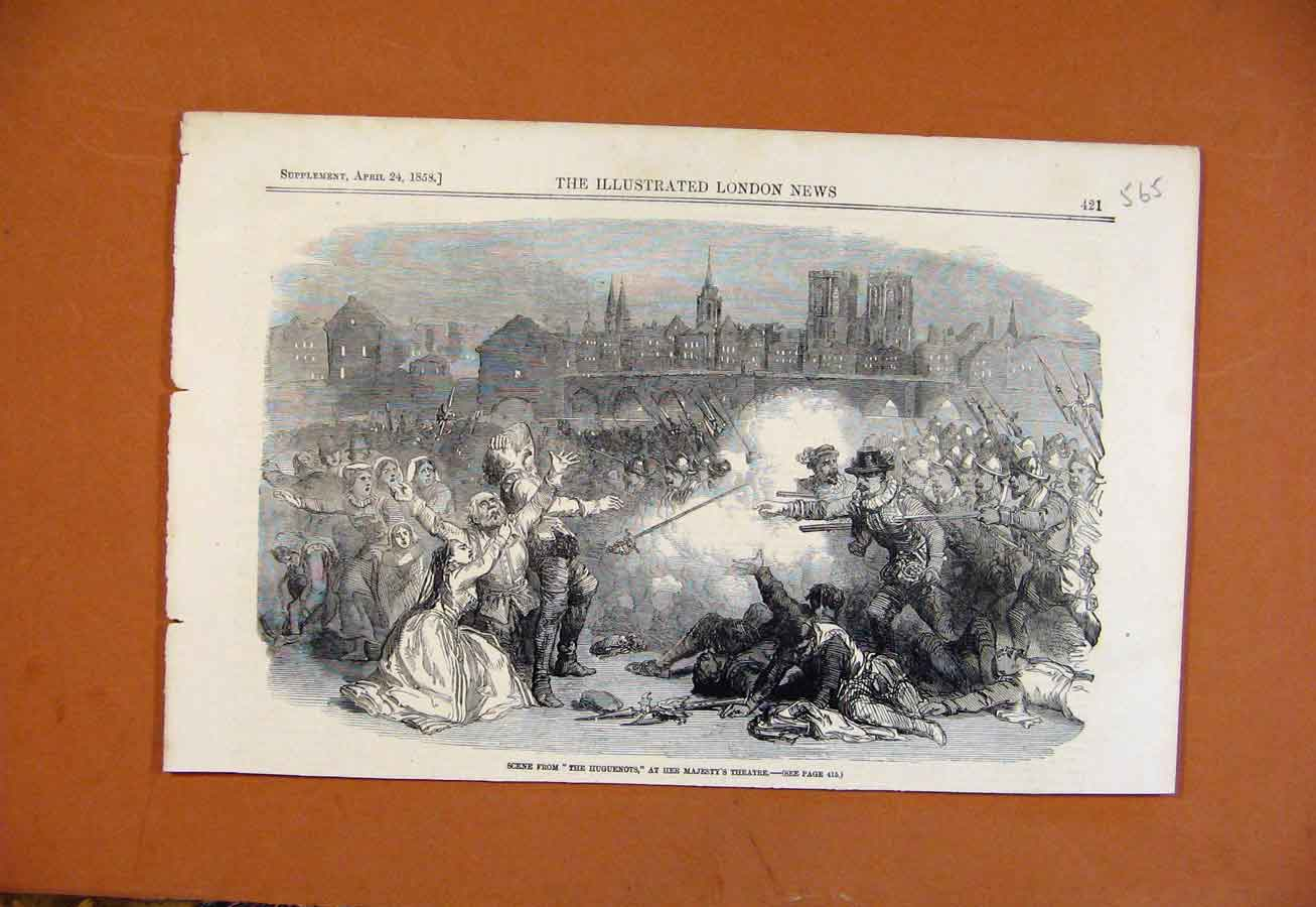 Print Scene From Huguenots Her Majestys Theatre C1858 658270 Old Original