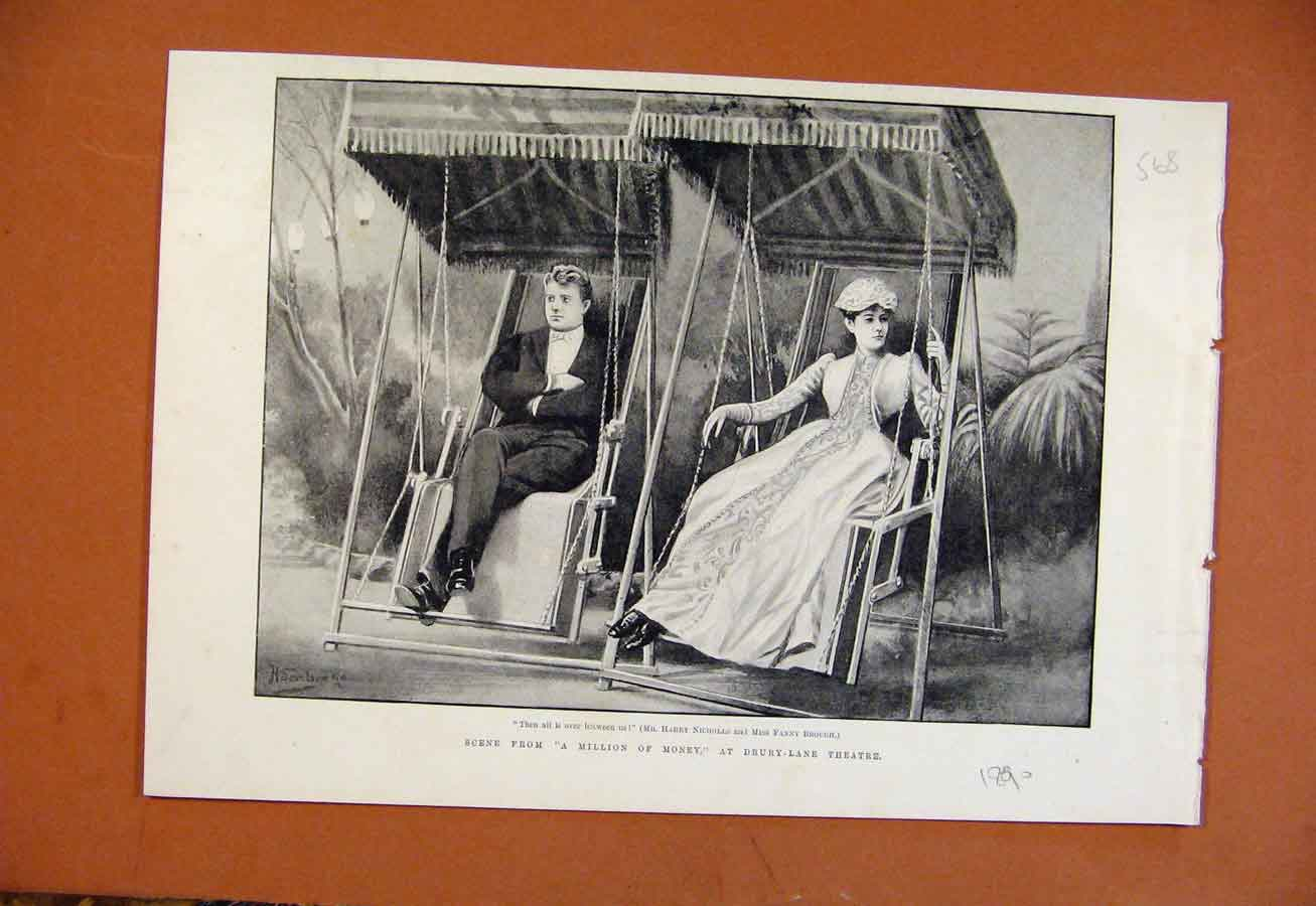 Print Million Money Scene Drury Lane Theatre C1890 688270 Old Original