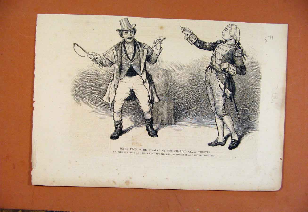 Print Scene From Rivals Charing Cross Theatre C1872 718270 Old Original
