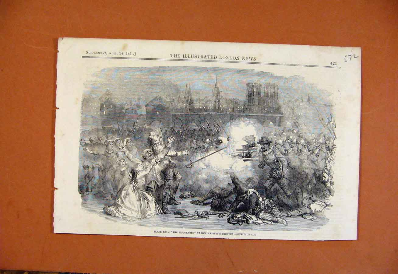 Print C1850 Scene From Huguenots Her Majesty Theatre 728270 Old Original