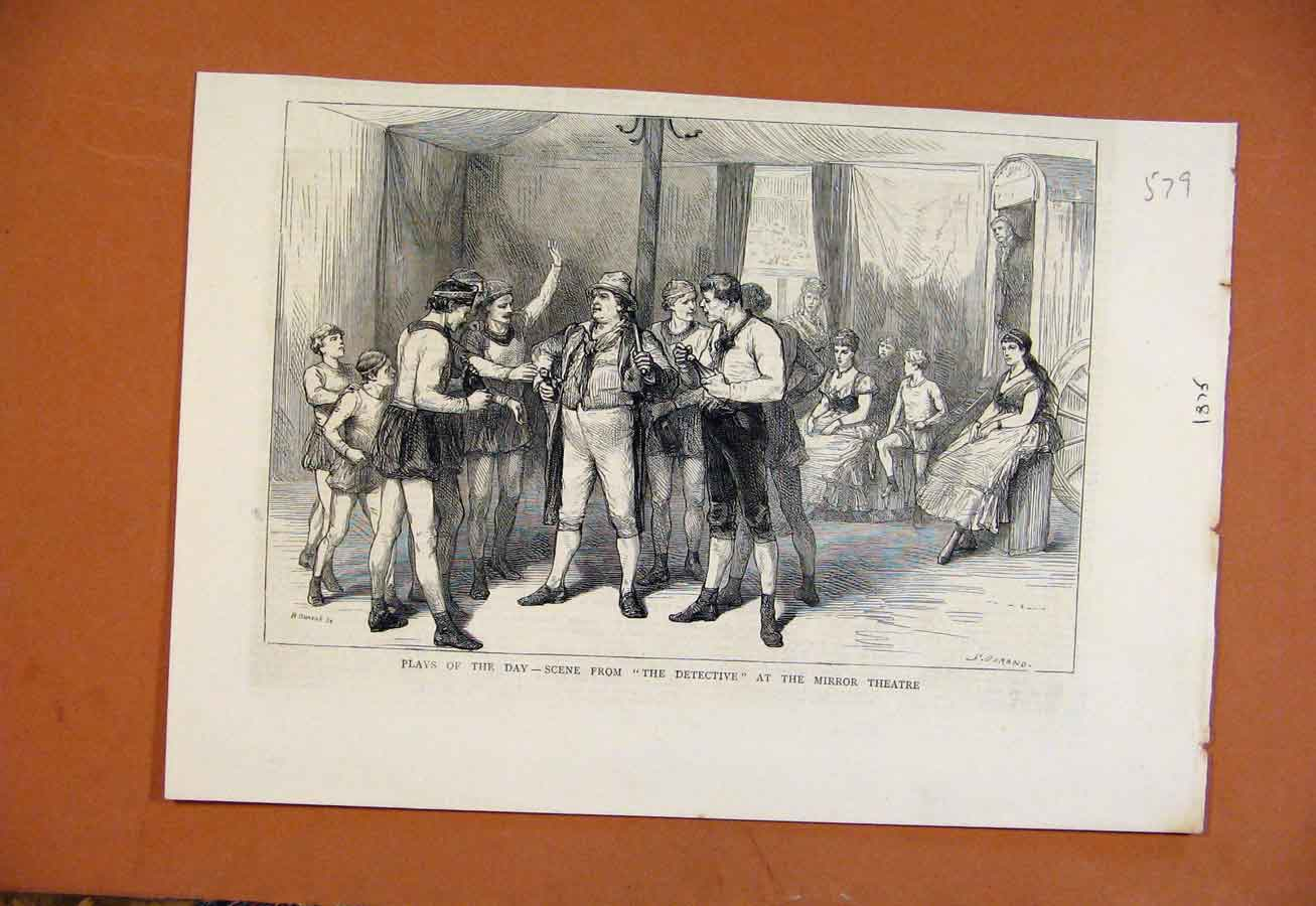 Print Plays The Day Detective Mirror Theatre C1875 798270 Old Original