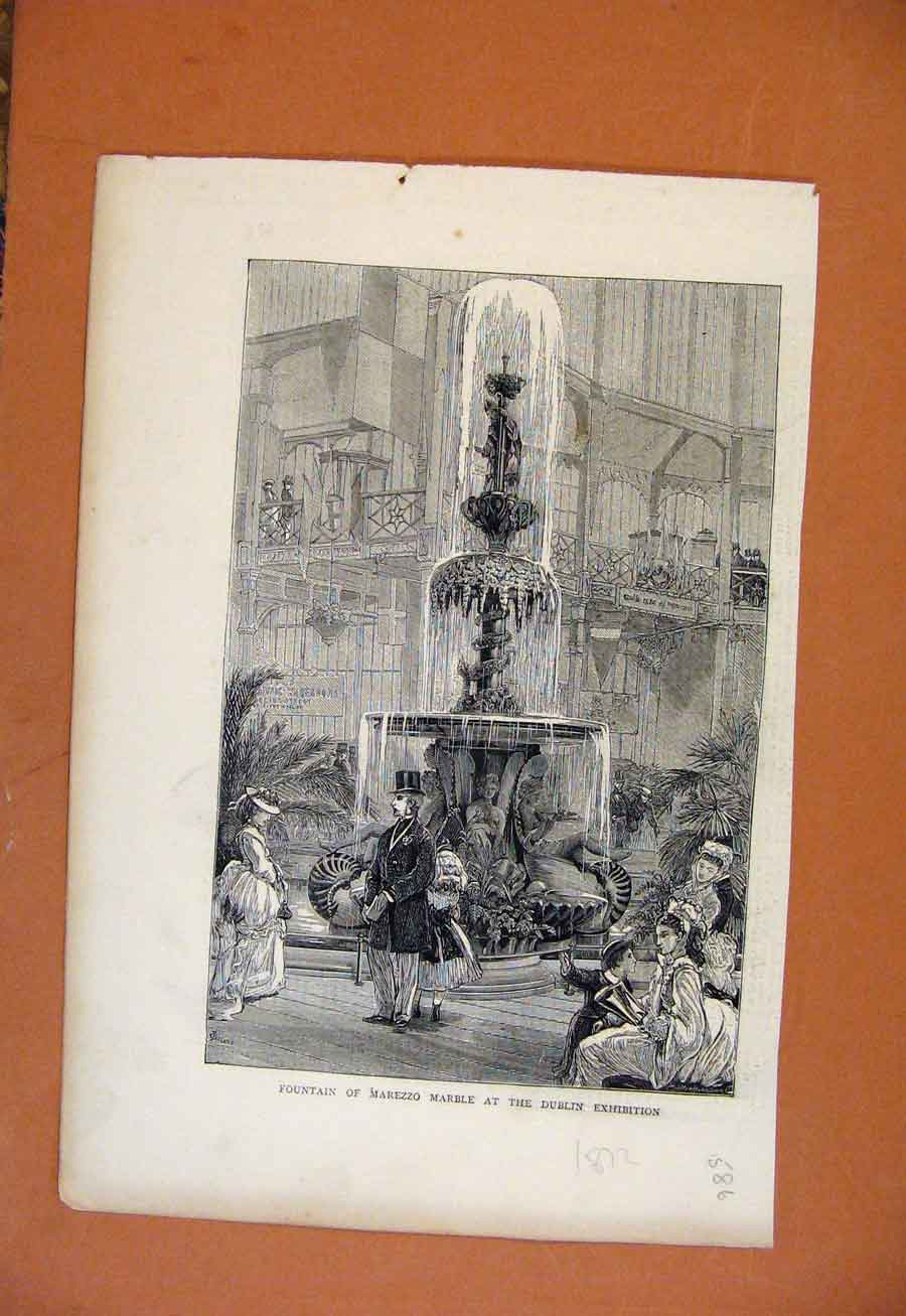 Print Fountian Marezzo Marble Dublin Exhibition C1872 868270 Old Original