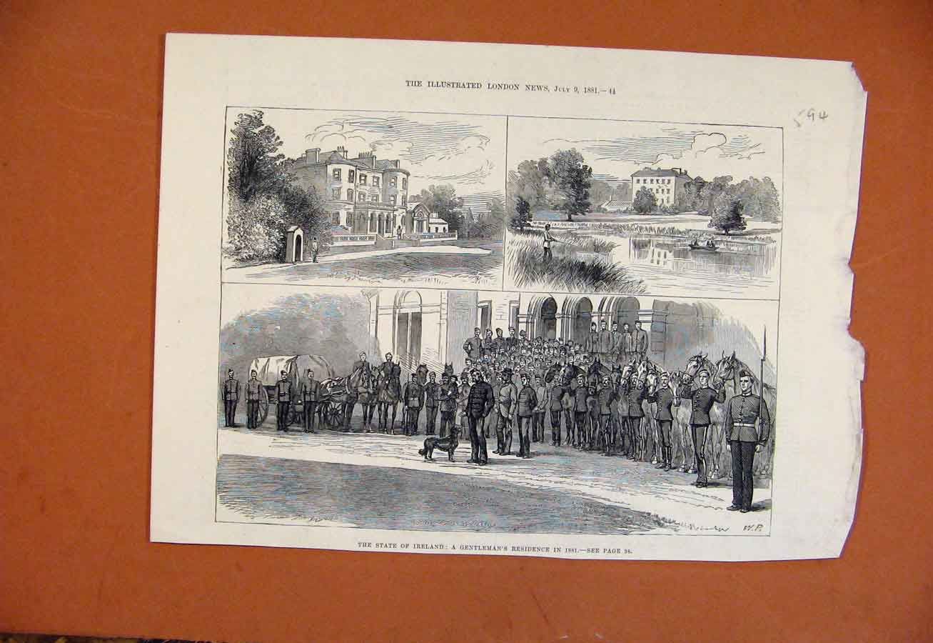Print State Ireland Gentlemans Residence C1881 948270 Old Original