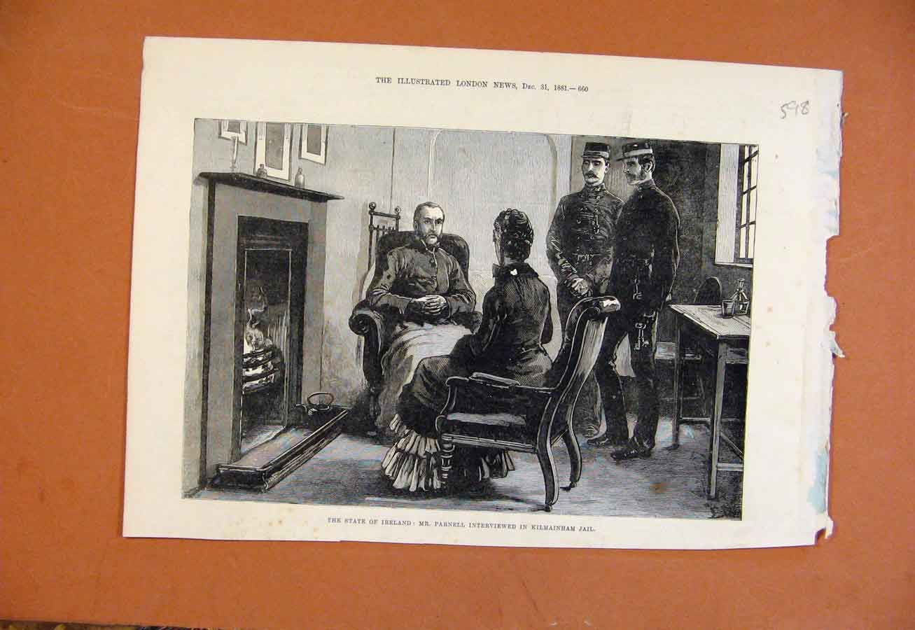 Print State Ireland Parnell Interviewed Kilmainham Jail C1881 988270 Old Original
