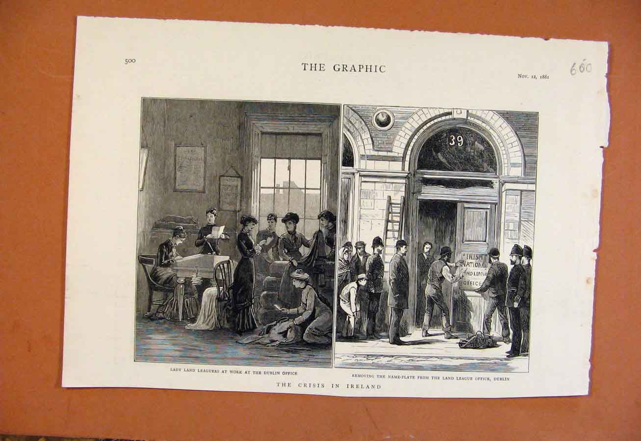 Print Crisis In Ireland Dublin Office C1881 From London News 008270 Old Original