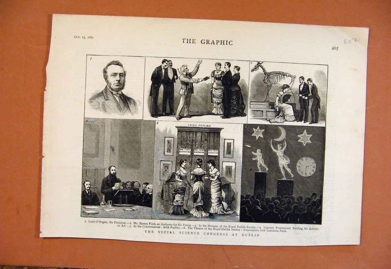 Print Social Science Congress Dublin C1881 From London News 028270 Old Original