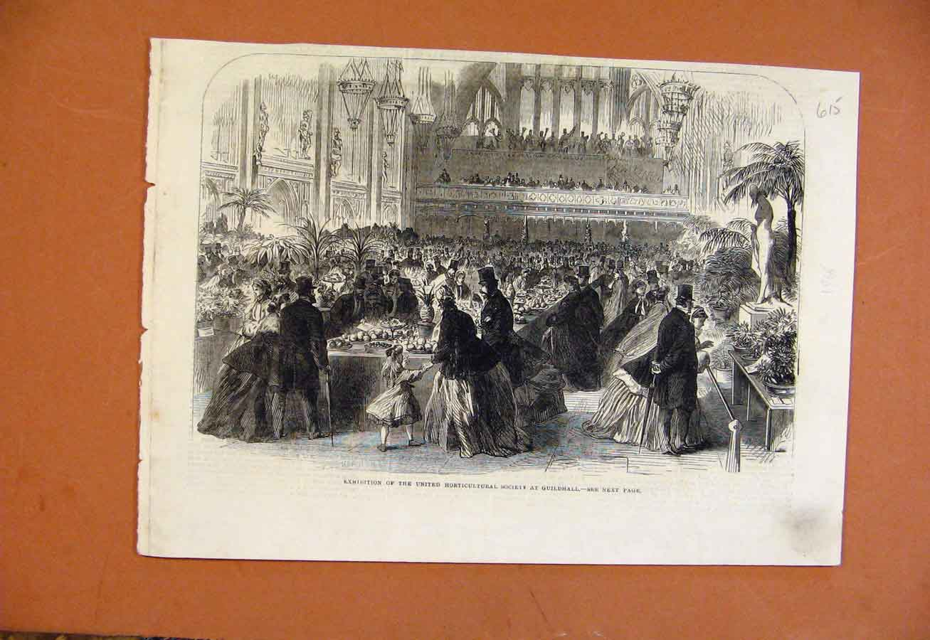 Print Exhibition United Horticultural Society Guildhall C1861 158270 Old Original