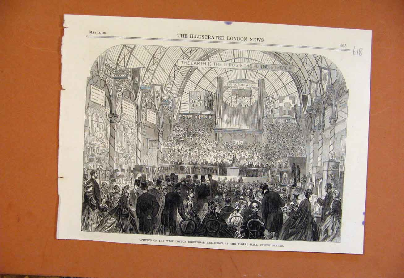 Print West London Industrial Exhibition Floral Hall C1865 188270 Old Original