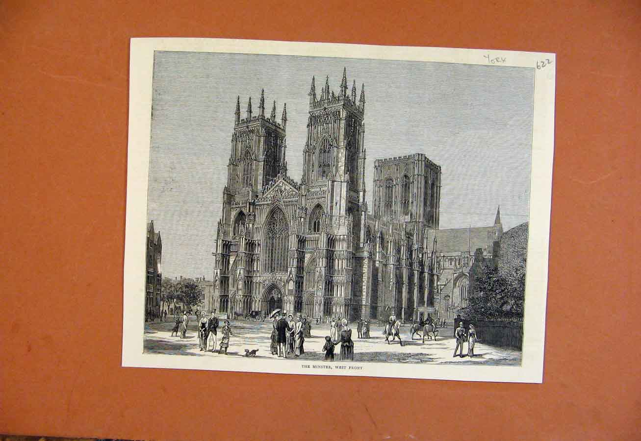 Print Minster West Front York From London News 228270 Old Original