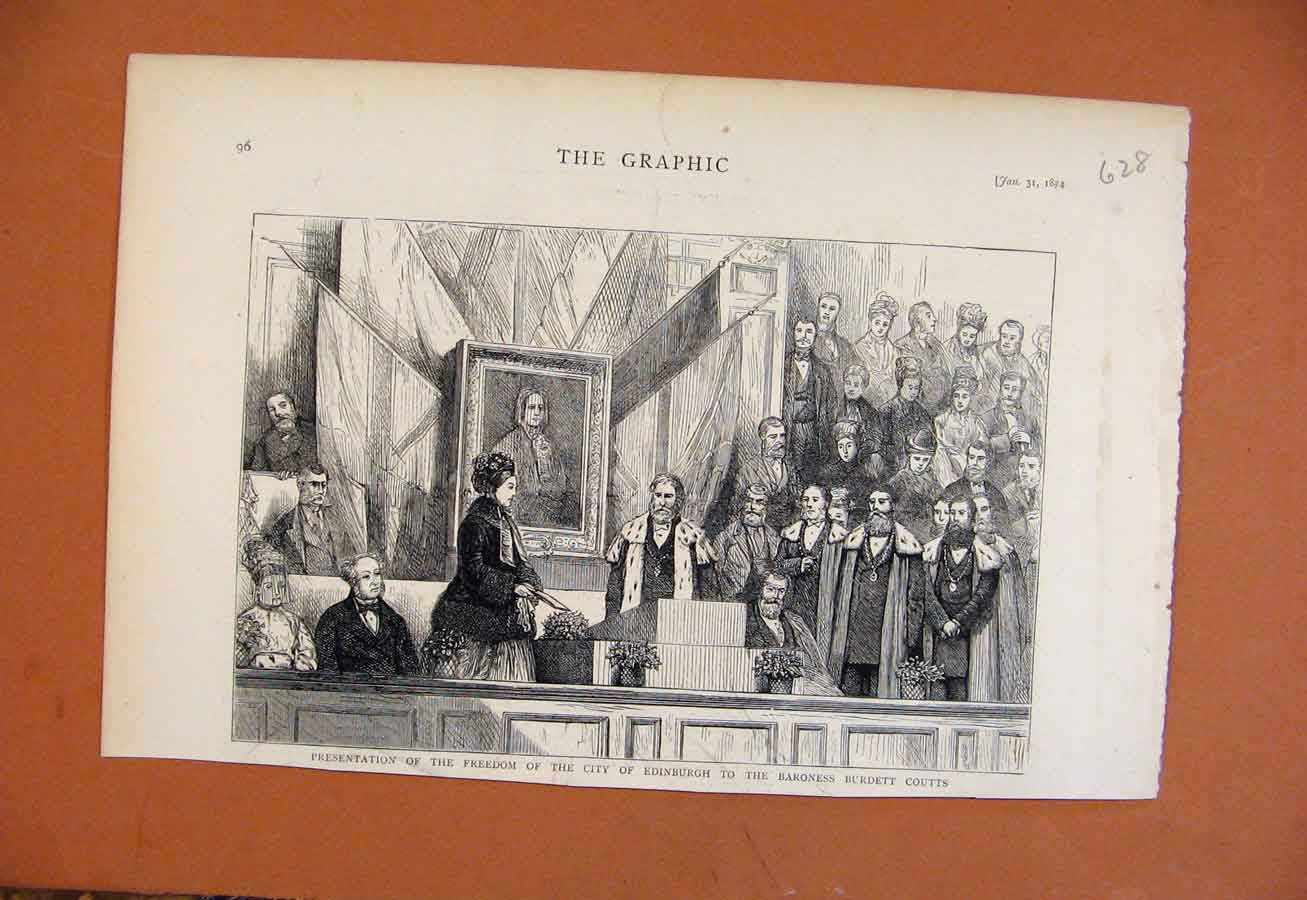 Print Presentation Freedom City Edinburgh Baroness C1874 288270 Old Original