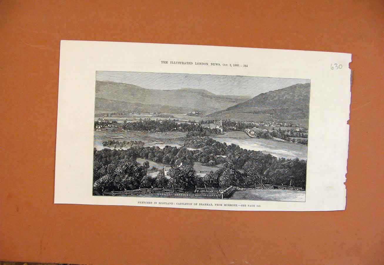 Print Sketches In Scotland Castleton Braemar Morrone C1880 308270 Old Original