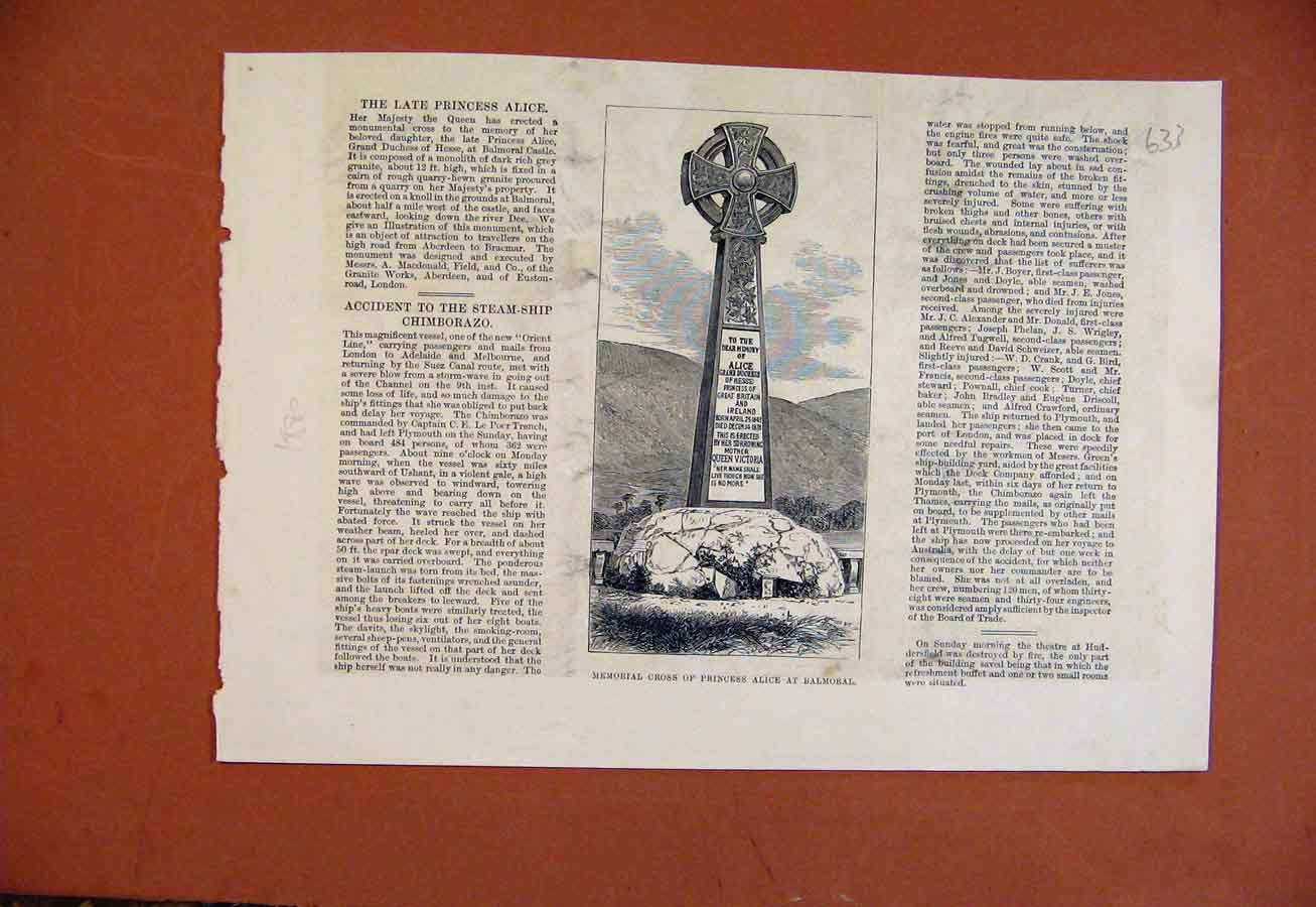 Print Memorial Corss Princess Alice Balmoral C1880 338270 Old Original