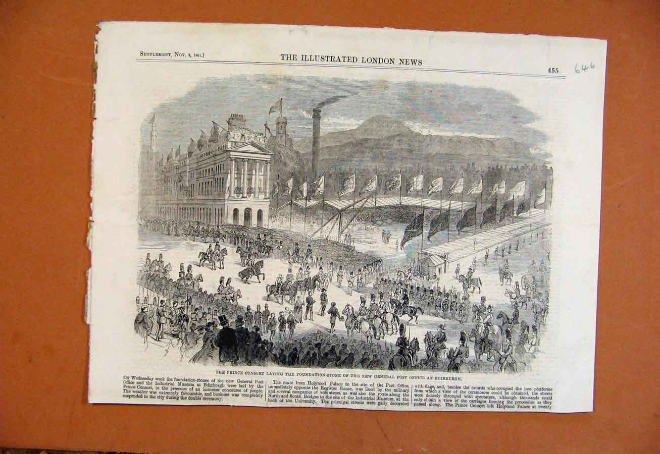Print Prince Consort Laying Foundation Stone Post Office 1861 468270 Old Original