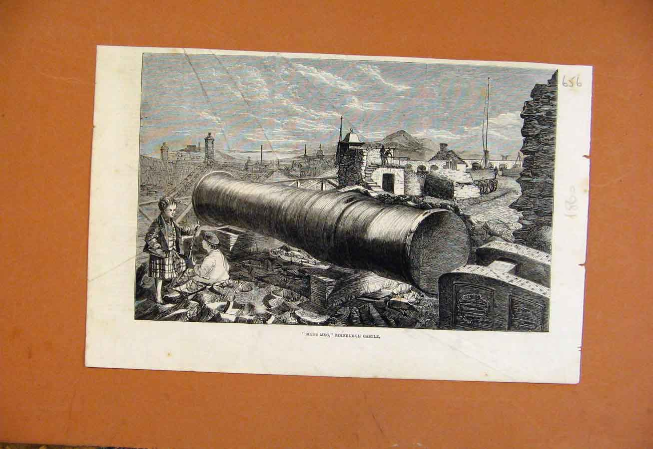 Print C1860 Mons Meg Edinburgh Castle From London News 568270 Old Original