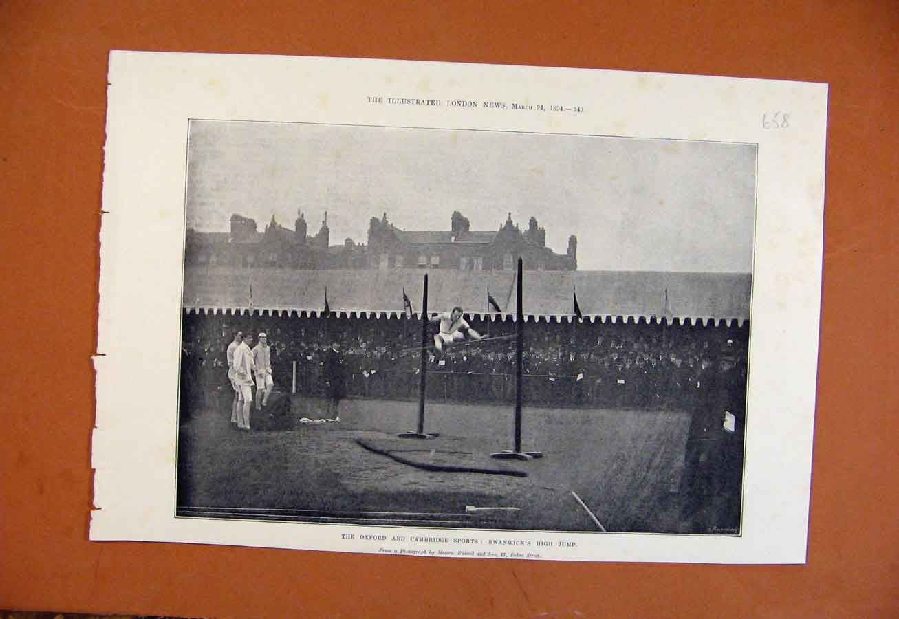 Print Osford Cambride Sports Swanwicks High Jump C1894 588270 Old Original