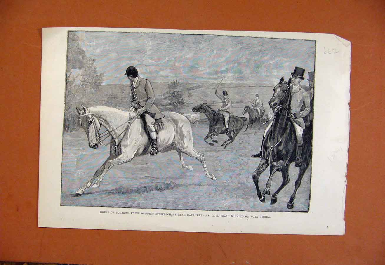 Print House Commons Point To Point Steeplechase C1891 628270 Old Original