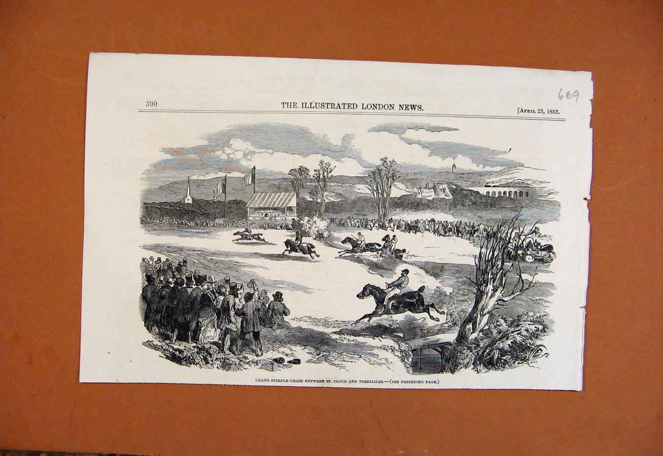 Print Grand Steeple Chase St Cloud Versalilles C1853 698270 Old Original