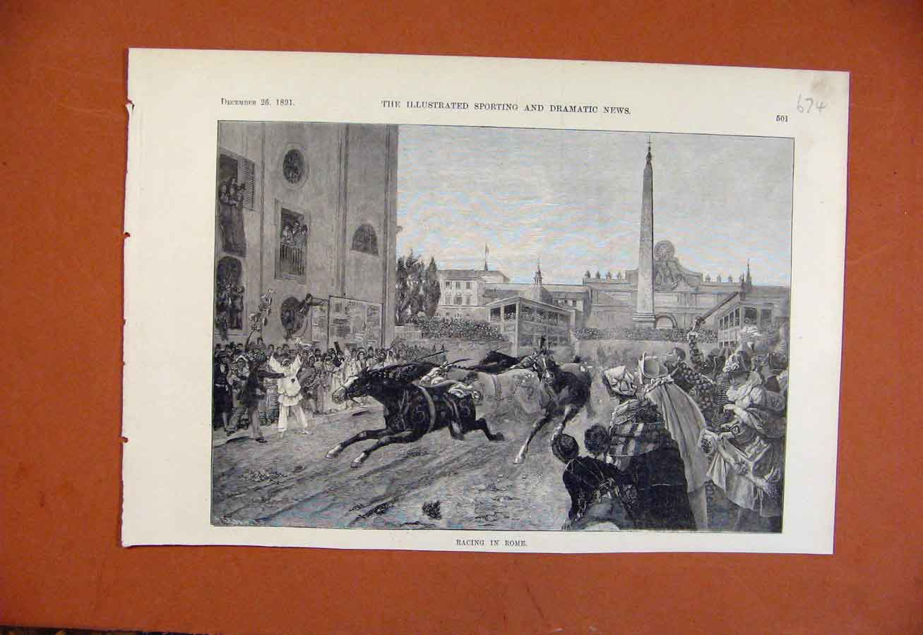 Print Racing In Rome C1891 From London News 748270 Old Original