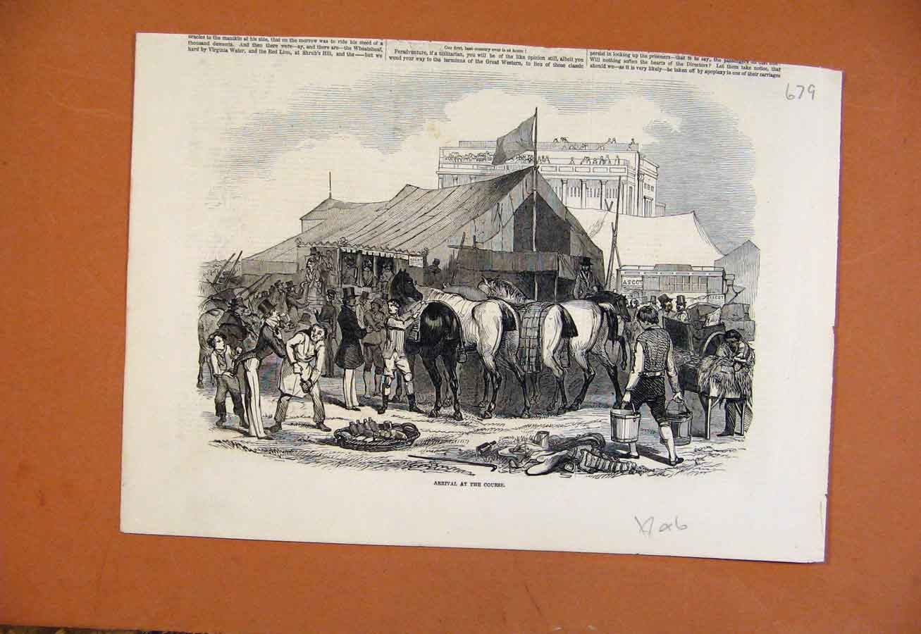 Print Horse Arrival At Course C1846 From London News 798270 Old Original