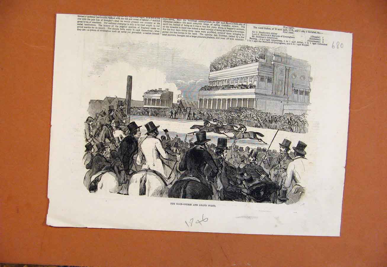 [Print C1846 Race Course Grand Stand Ascot 808270 Old Original]