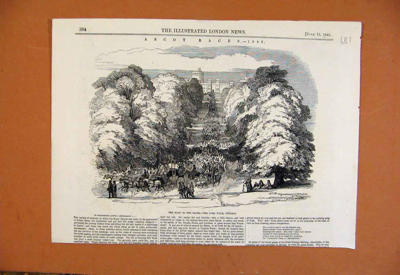 Print C1846 Road To The Races Long Walk Windsor 818270 Old Original