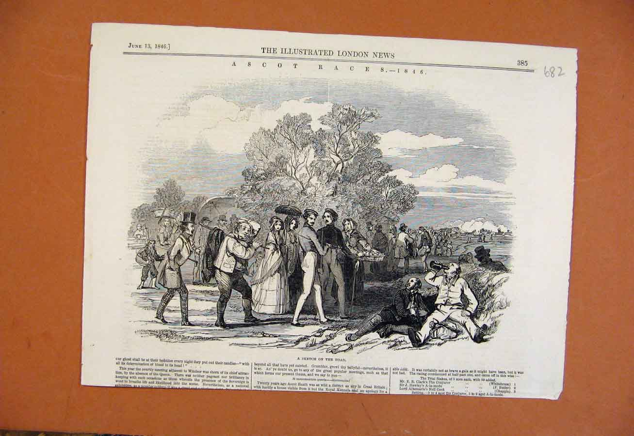 Print Sketch On The Road C1846 Ascot Races From London News 828270 Old Original